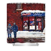 Small Format Paintings For Sale Poutine Lafleur Montreal Petits Formats A Vendre Cspandau Artist  Shower Curtain