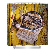 Small French Horn Shower Curtain