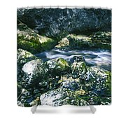 Small Freshwater Spring Under Rocks Shower Curtain