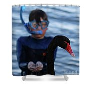 Small Human Meets Black Swan Shower Curtain