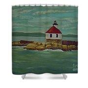 Small Island Lighthouse Shower Curtain