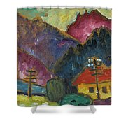 Small Landscape With Telegraph Shower Curtain