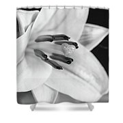 Small Lily-2 Bw Shower Curtain