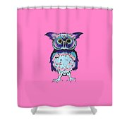 Small Owl Pink Shower Curtain