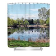 Small Pond In Tomilino Shower Curtain