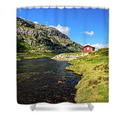 Small Red Cabin In Norway Shower Curtain