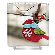 Small Red Handicraft Bird Hanging On A Wire Shower Curtain