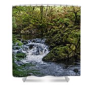 Small River Cascade Over Mossy Rocks In Northern Wales Shower Curtain