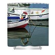Small Skiffs - Lyme Regis Harbour Shower Curtain