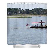 Small Stream Boat Shower Curtain