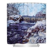 Small Stream, Snowy Scene And Waterfalls. Shower Curtain