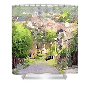 Small Town Scape Shower Curtain