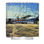 Small Turboprop Plane Shower Curtain
