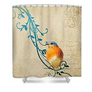 Small Vintage Bluebird With Leaves Shower Curtain