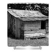 Small White Barn B W Shower Curtain
