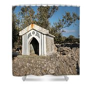 Small White Chapel On A Stone Wall Near Cres Shower Curtain