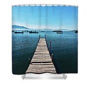 Small Wood Pier Shower Curtain