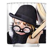 Smart Woman Researching Info Shower Curtain
