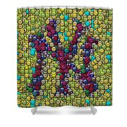 Smiley Face Yankees Mosaic Shower Curtain