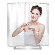 Smiling, Attractive Woman Using A Moisturizer. Shower Curtain