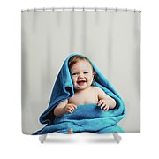 Smiling Baby Tucked In A Warm Blanket Shower Curtain