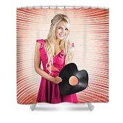 Smiling Dj Woman In Love With Retro Music Shower Curtain
