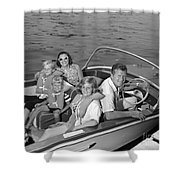 Smiling Family In Docked Boat, C.1960s Shower Curtain