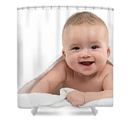 Smiling Four Month Old Baby Boy Shower Curtain