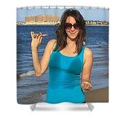 Smiling Hottie At The Beach Shower Curtain