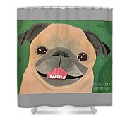 Smiling Senior Pug Shower Curtain