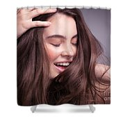 Smiling Young Woman With Long Brown Hair Shower Curtain
