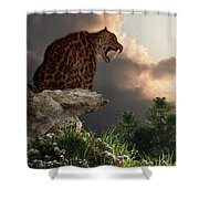 Smilodon Californicus Lookout Shower Curtain