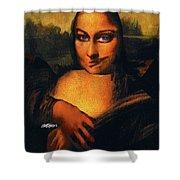 Smirking Mona Shower Curtain