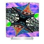 Smith Tower Fractal Shower Curtain