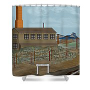 Smokestack And Heart Mountain At Camp Vocation Shower Curtain