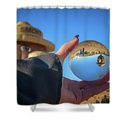 Smokey Bear Balloon In The Crystal Ball Shower Curtain