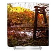 Smoky Mountain Suspension Bridge Oil Painting Shower Curtain
