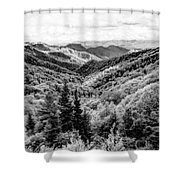 Smoky Mountains In Black And White Shower Curtain