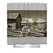 Smoky Mt Homestead - B W Shower Curtain