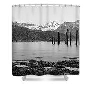 Smooth Seward Alaska Grayscale Shower Curtain