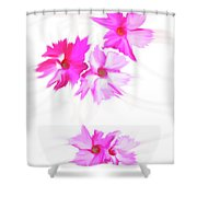 Smudged Floating Pink Flowers Shower Curtain
