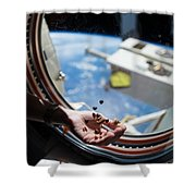 Snacking In Space Shower Curtain