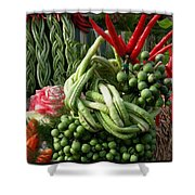 Snake Beans. At The Surin Elephant Shower Curtain