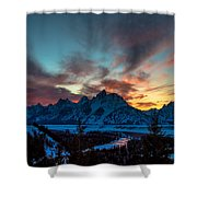 Snake River And Tetons At Sunset Shower Curtain