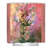 Snapdragons In Snapdragon Vase Shower Curtain
