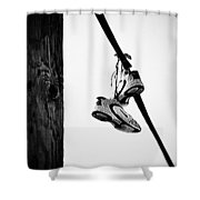 Sneakers On Power Line Shower Curtain