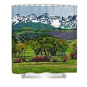 Sneffels Range Spring Acrylic Shower Curtain