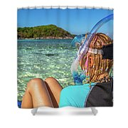 Snorkeler Relaxing On Tropical Beach Shower Curtain
