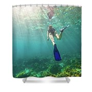 Snorkeling In Coral Reef Shower Curtain