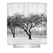 Snow Along The Schuylkill River Shower Curtain